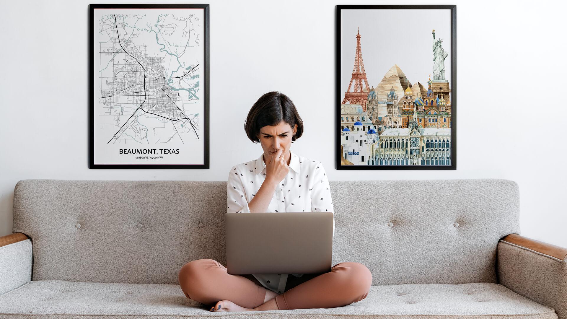 Beaumont city map art