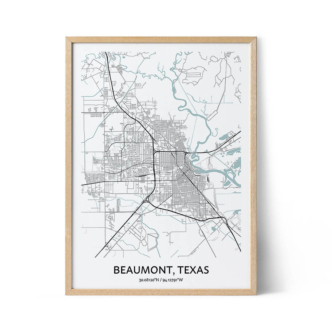 Beaumont city map poster