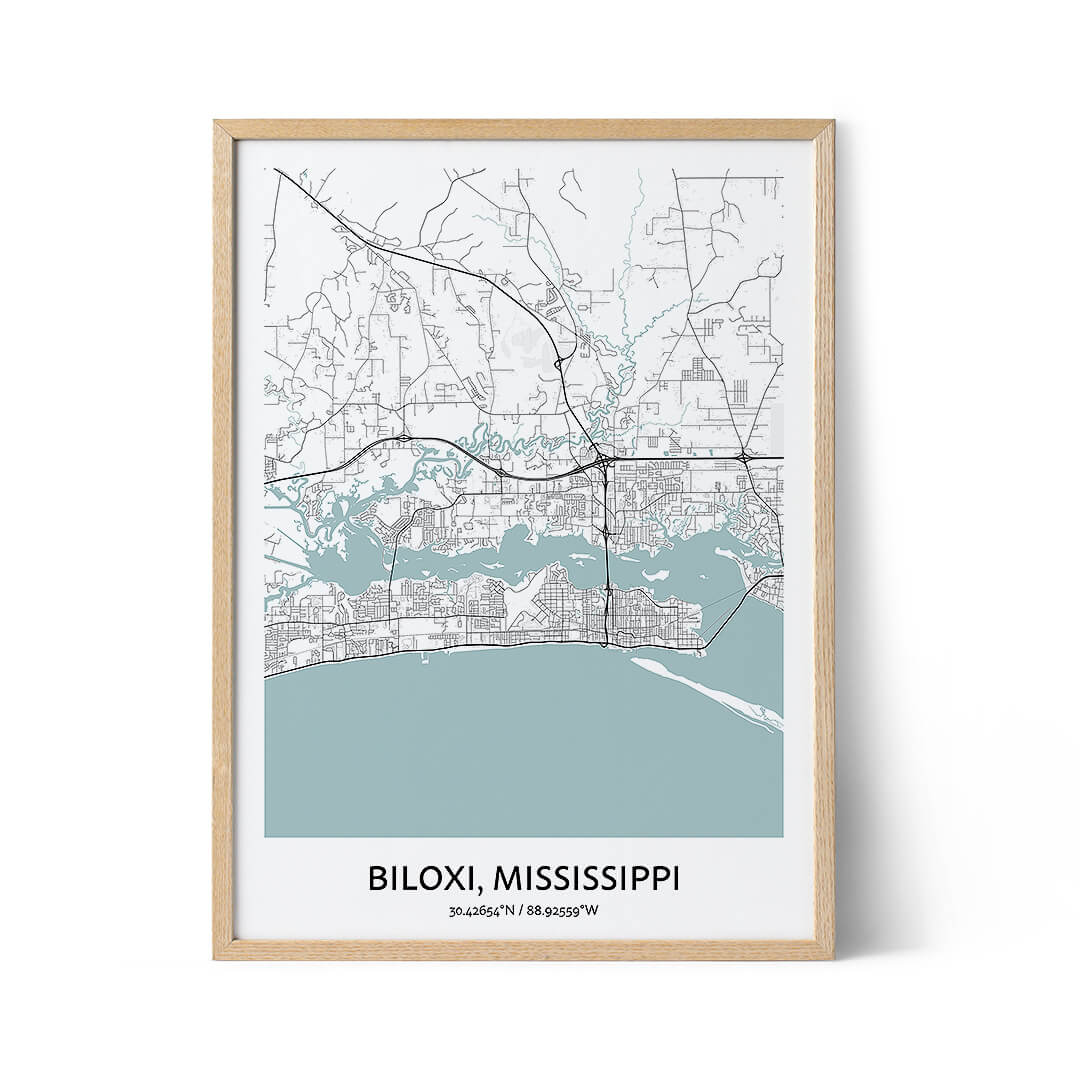 Biloxi city map poster
