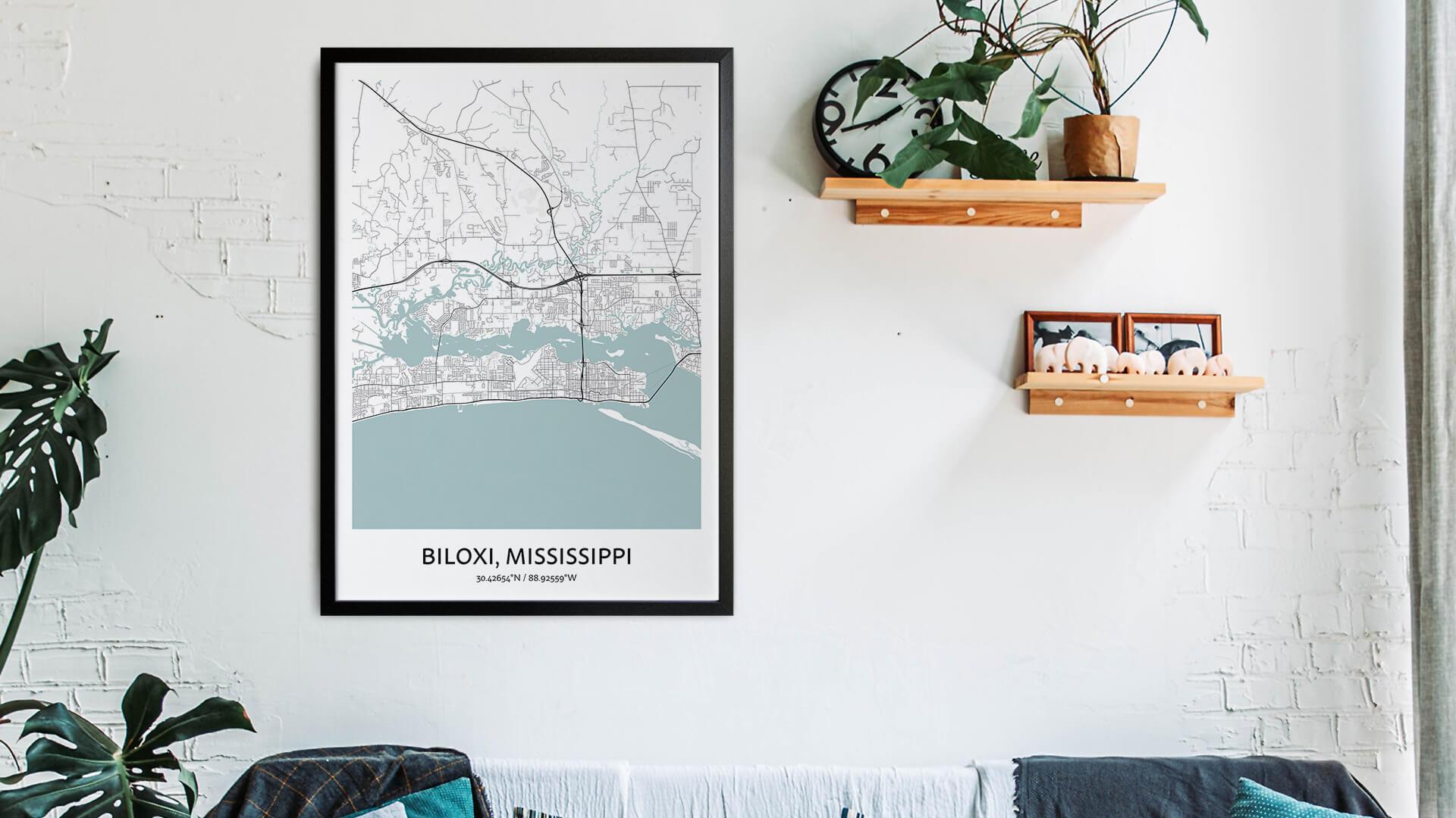 Biloxi map art
