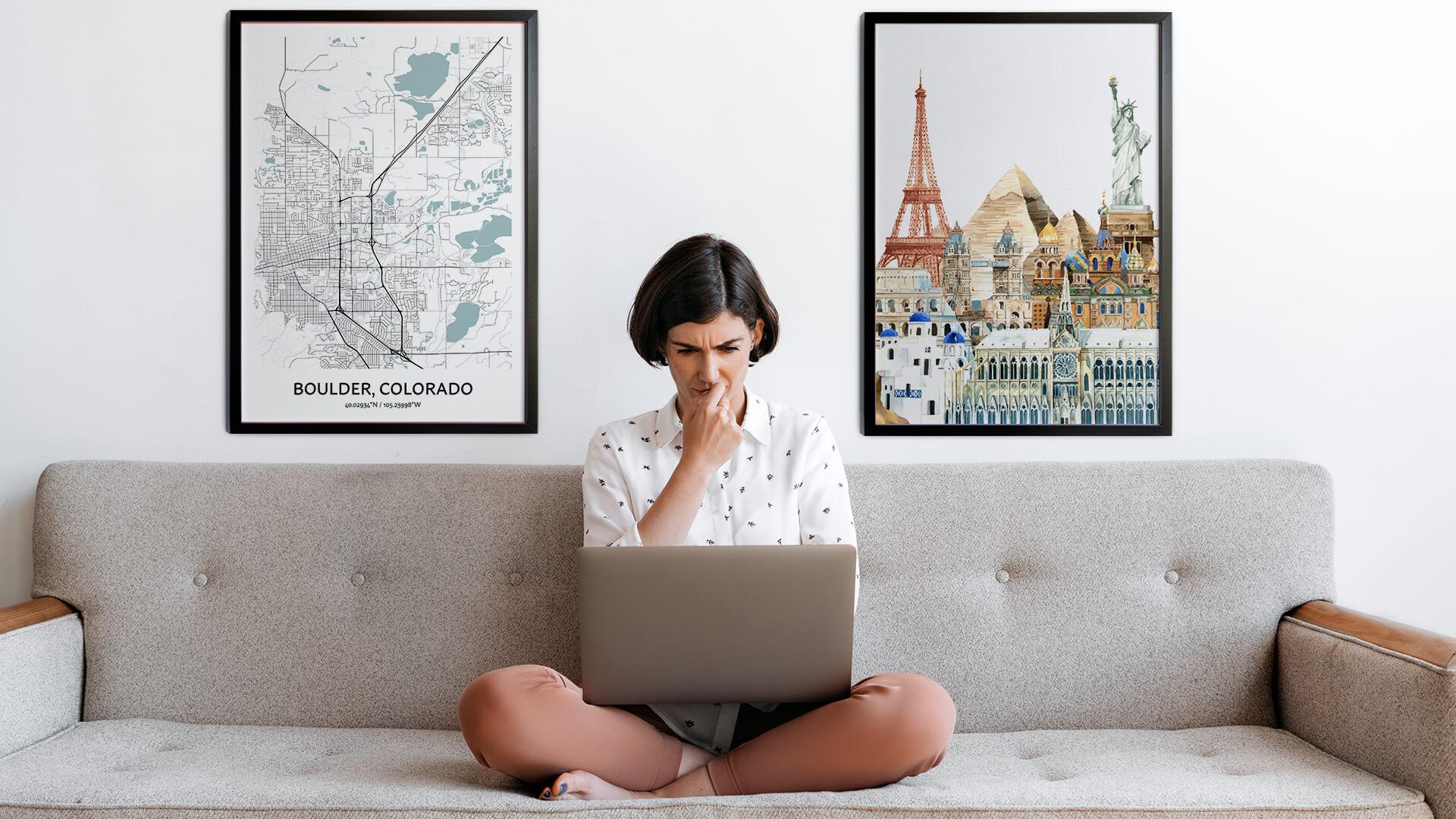 Boulder city map art