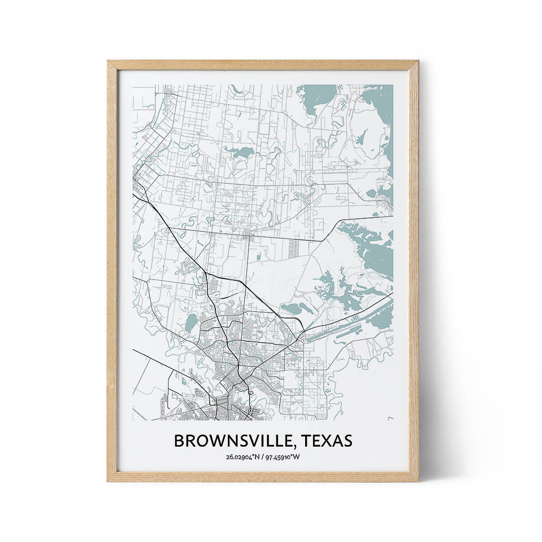 Brownsville city map poster
