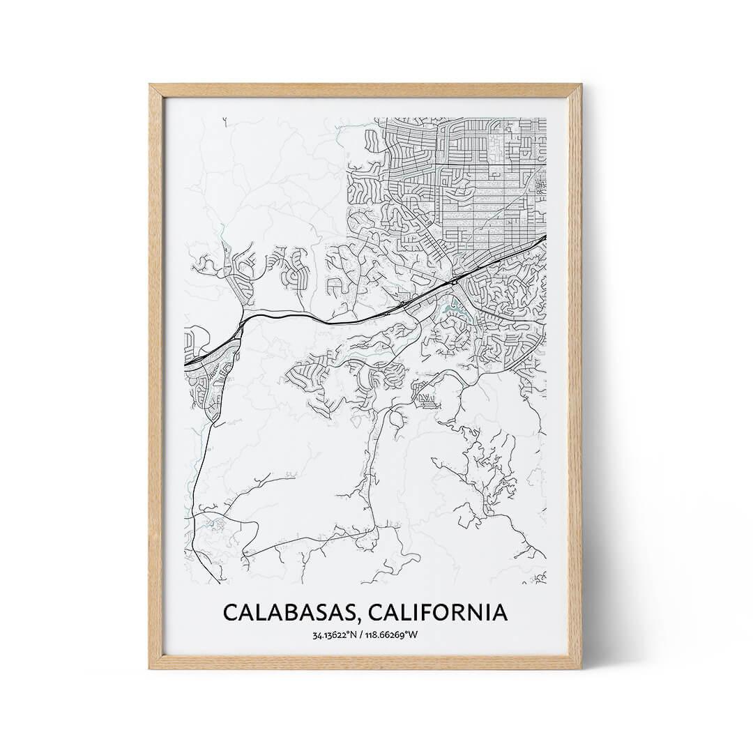 Calabasas city map poster