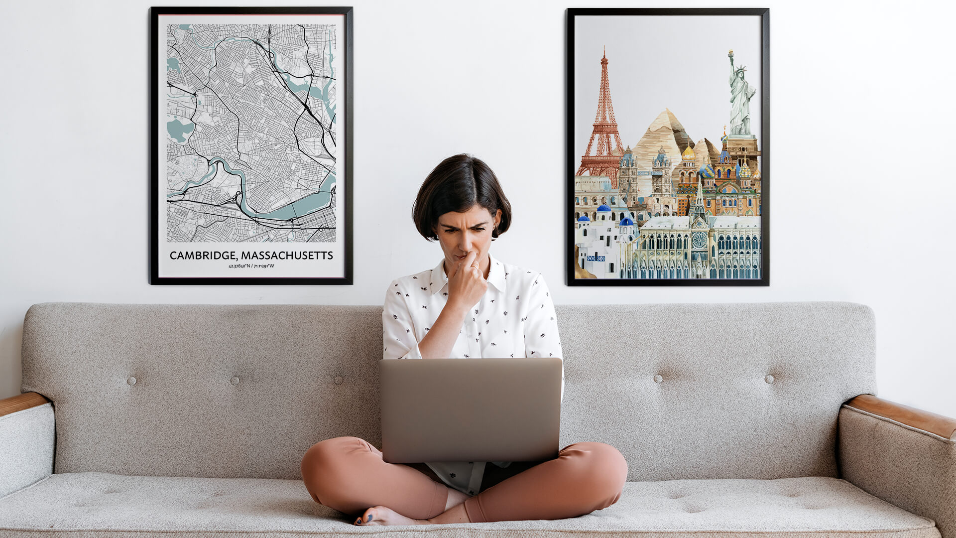 Cambridge city map art