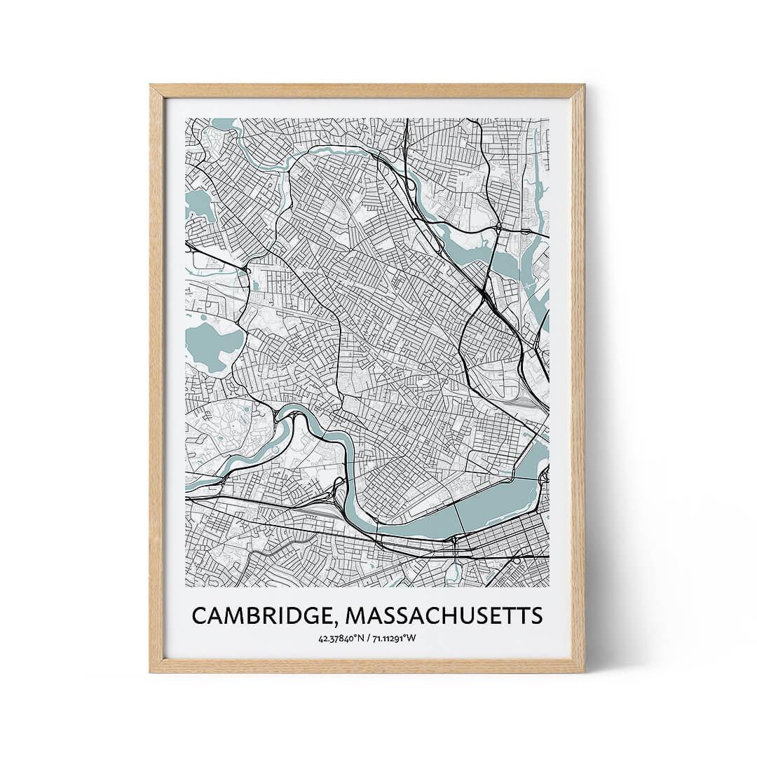 Cambridge city map poster