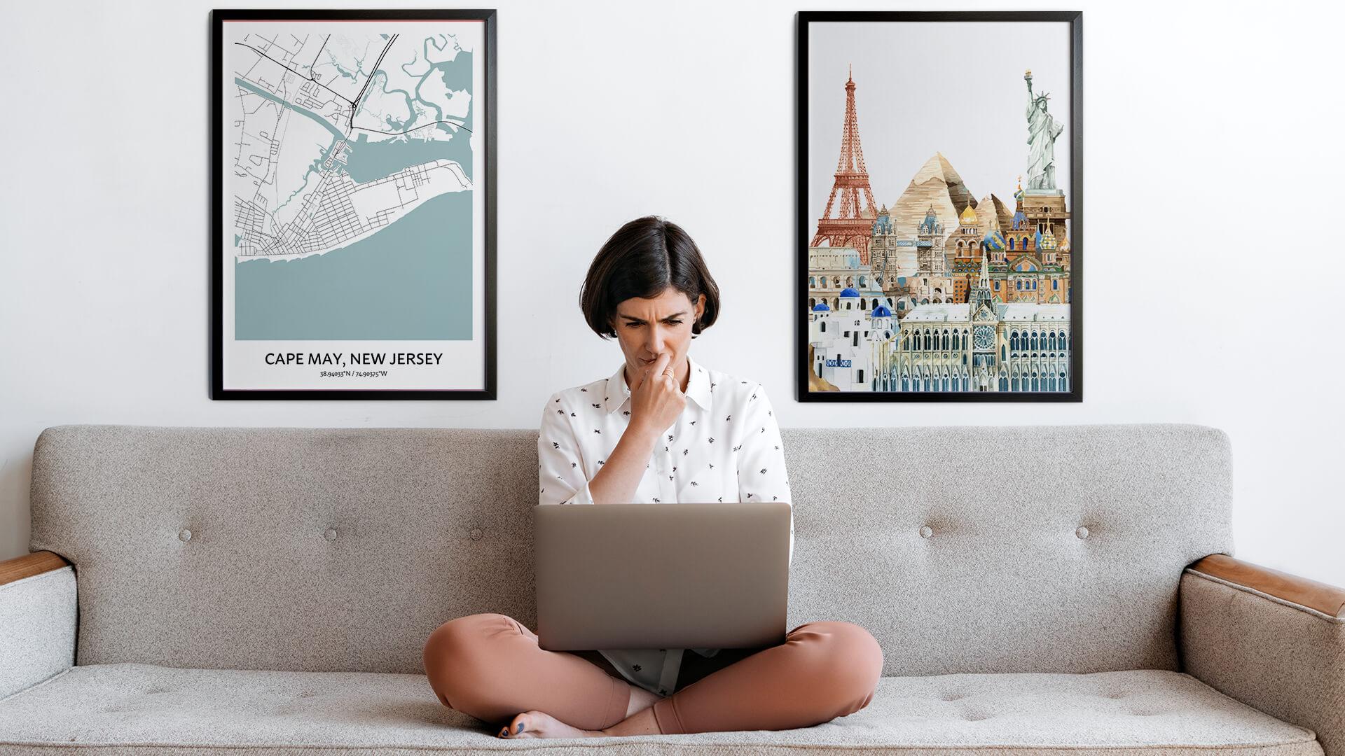 Cape May city map art