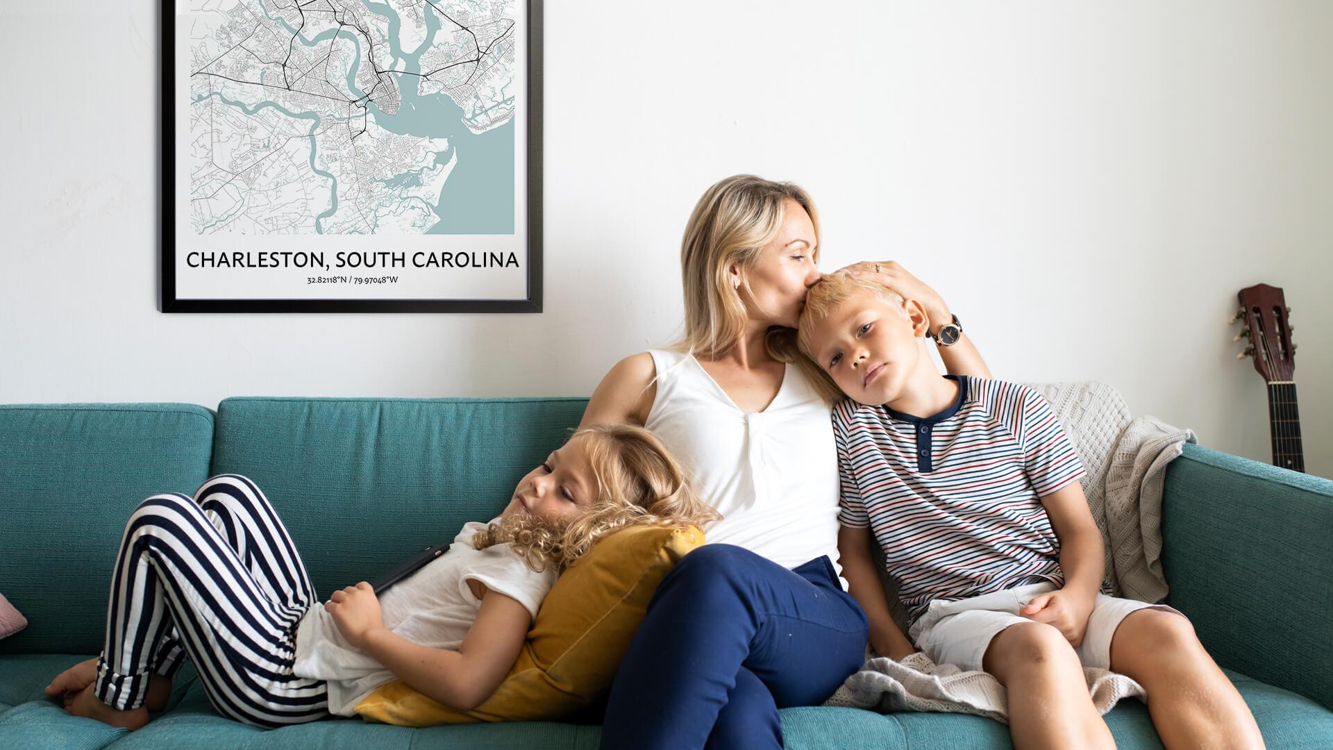 Charleston South Carolina map poster