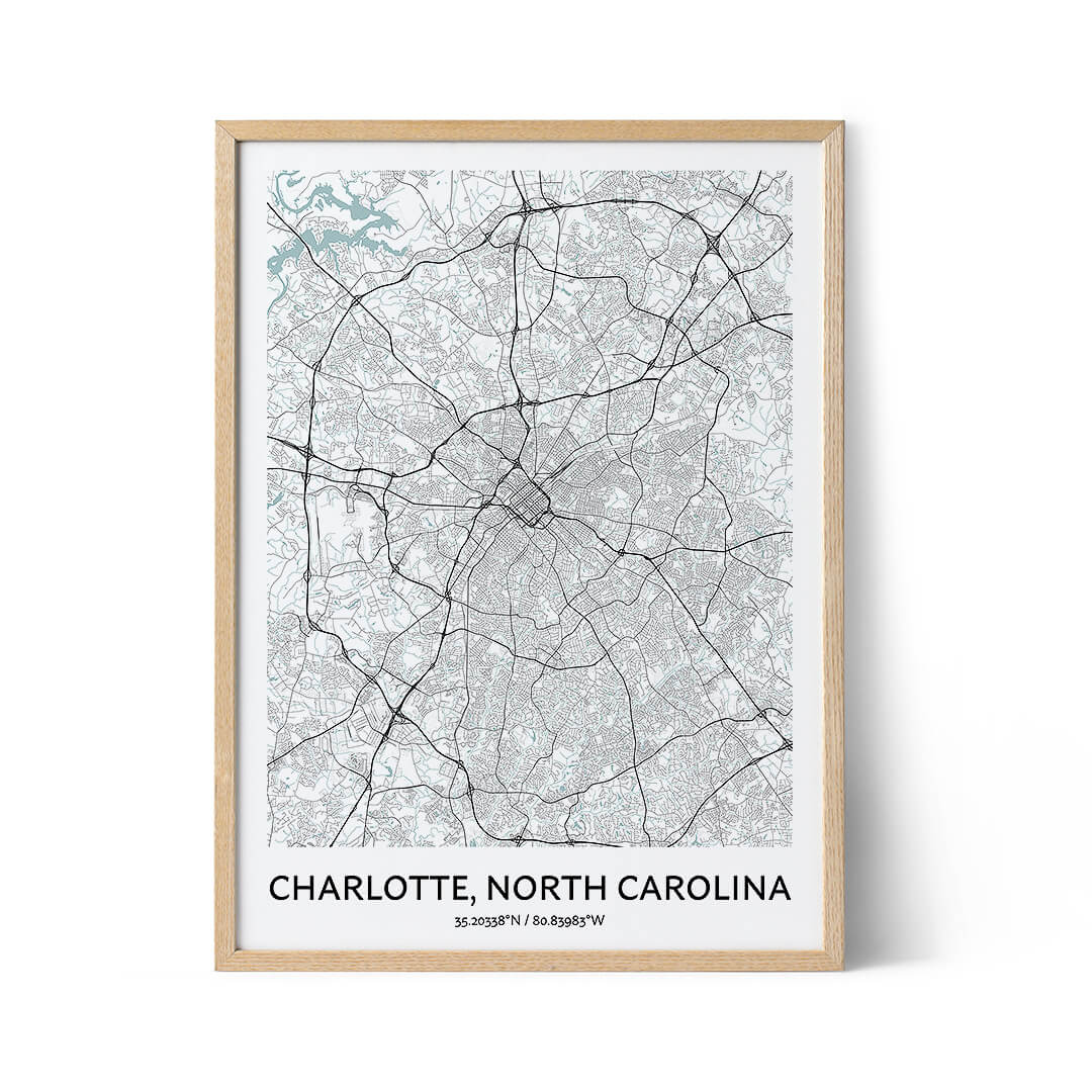 Charlotte city map poster