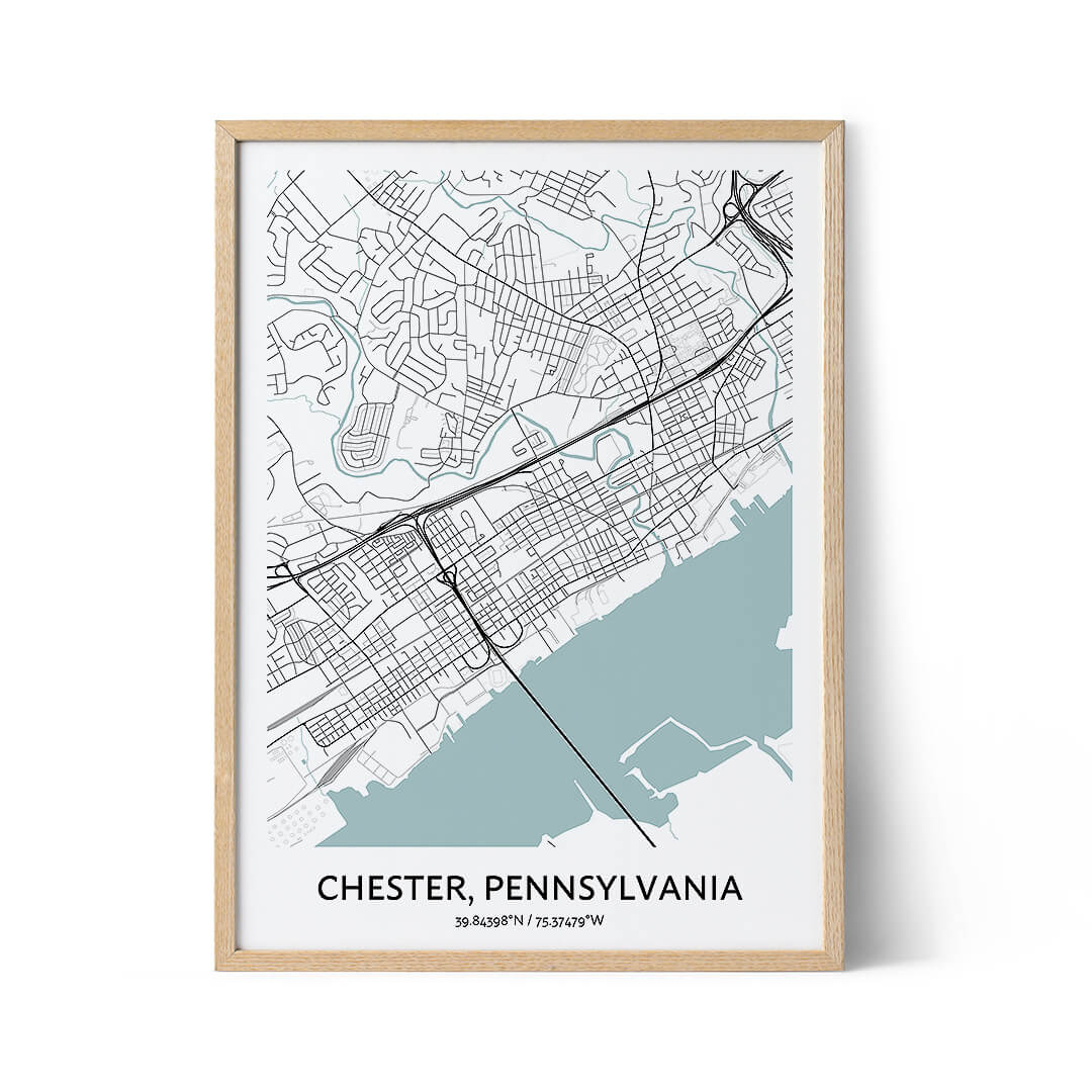 Chester city map poster