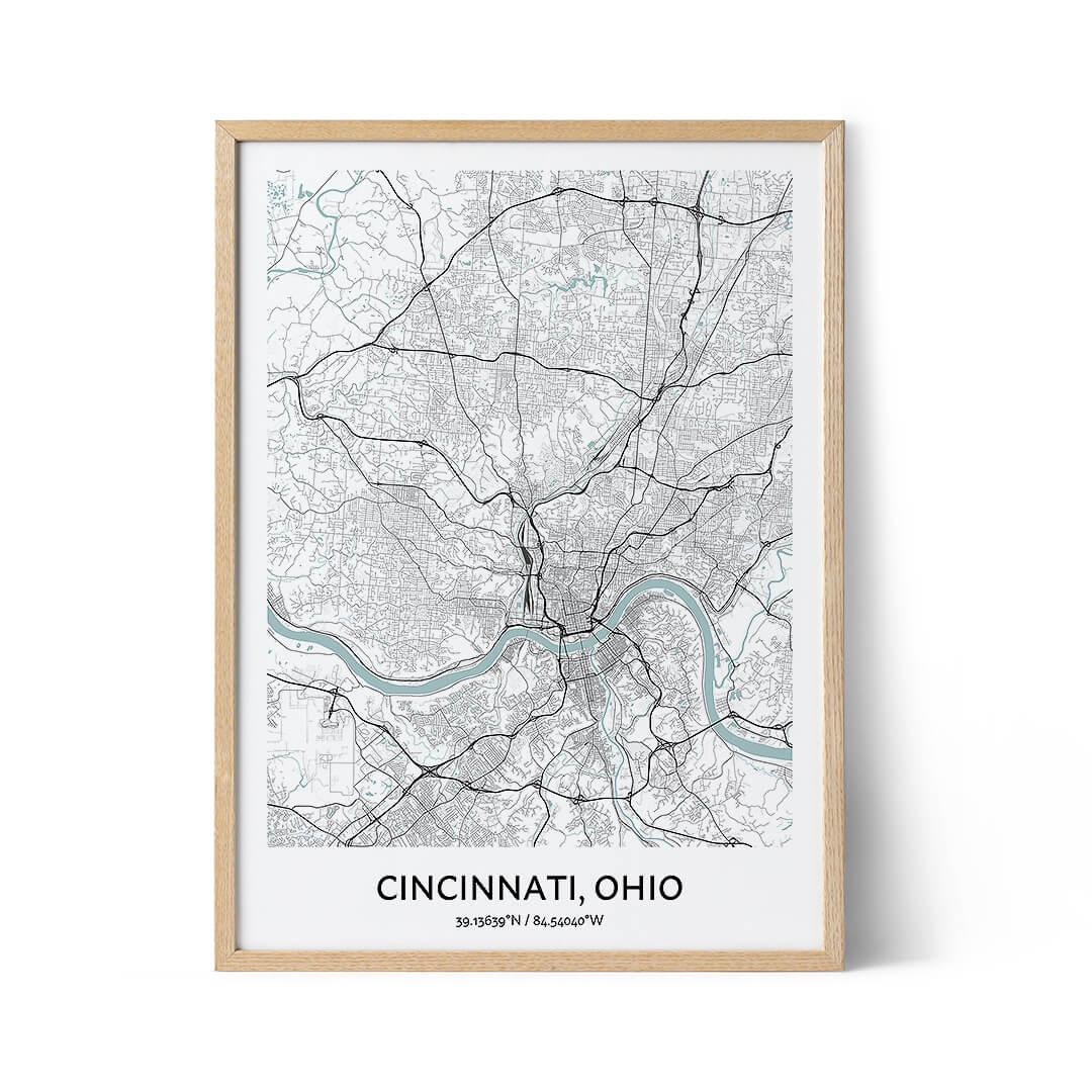 Cincinnati city map poster