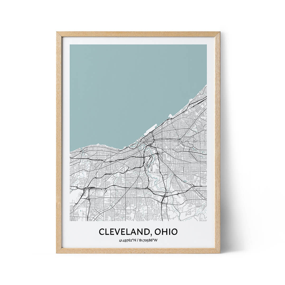 Cleveland city map poster