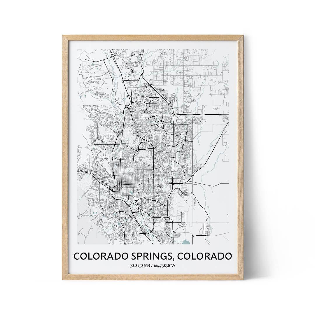 Colorado Springs city map poster