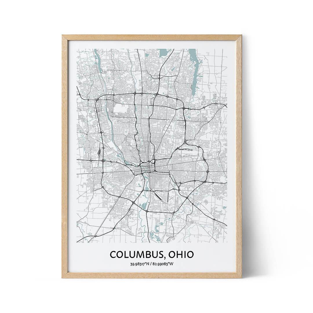 Columbus city map poster