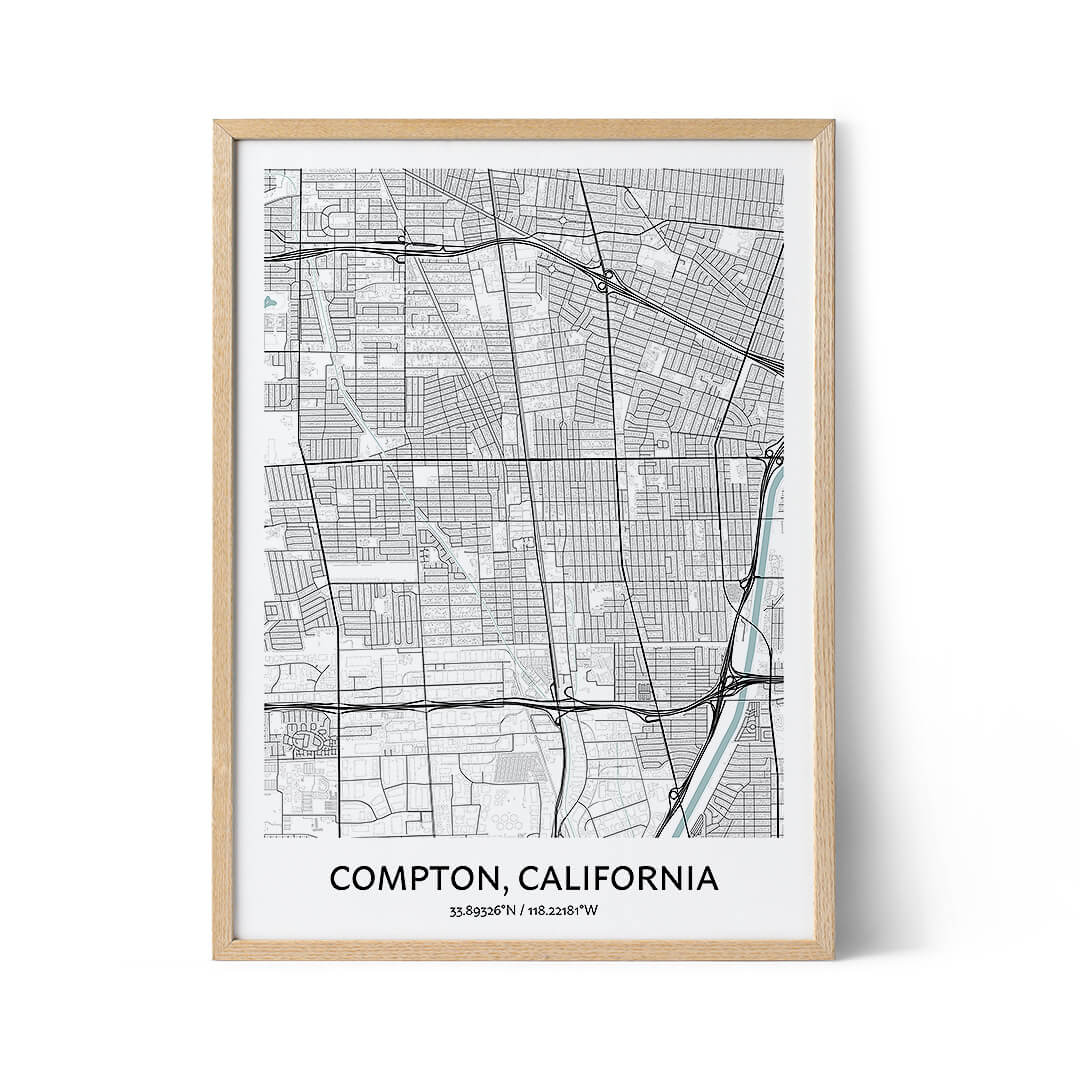 Compton city map poster