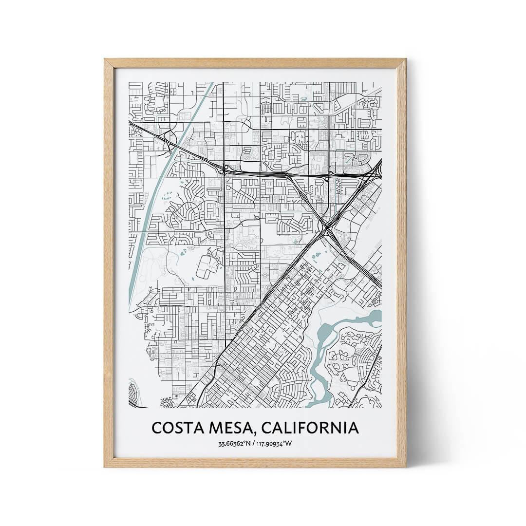Costa Mesa city map poster