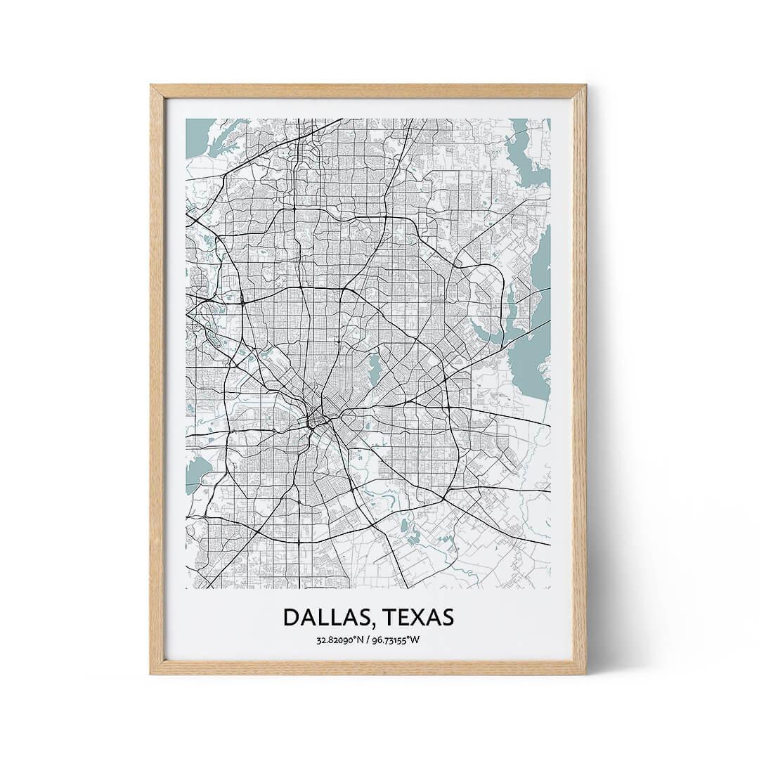 Dallas city map poster