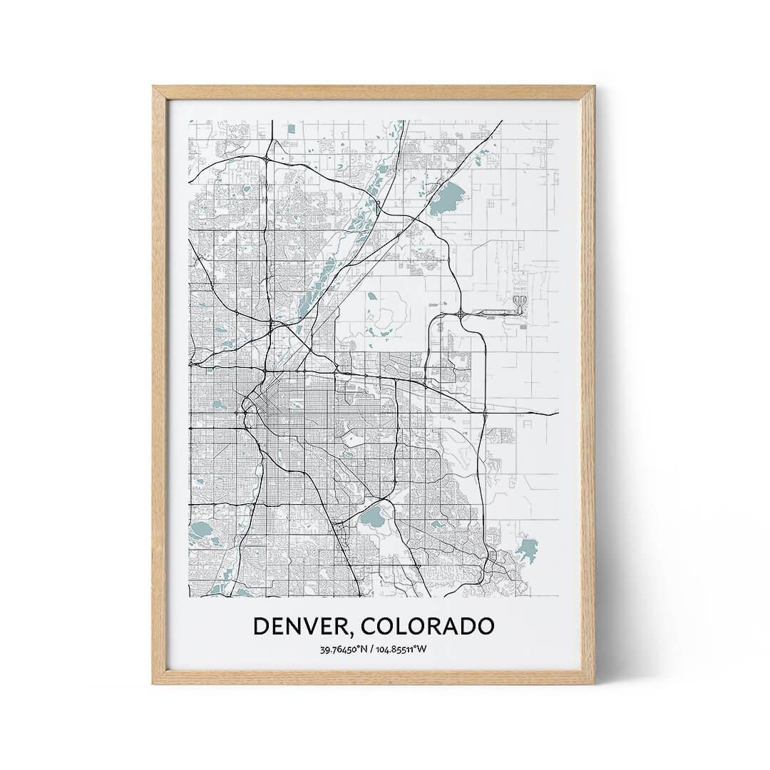 Denver city map poster