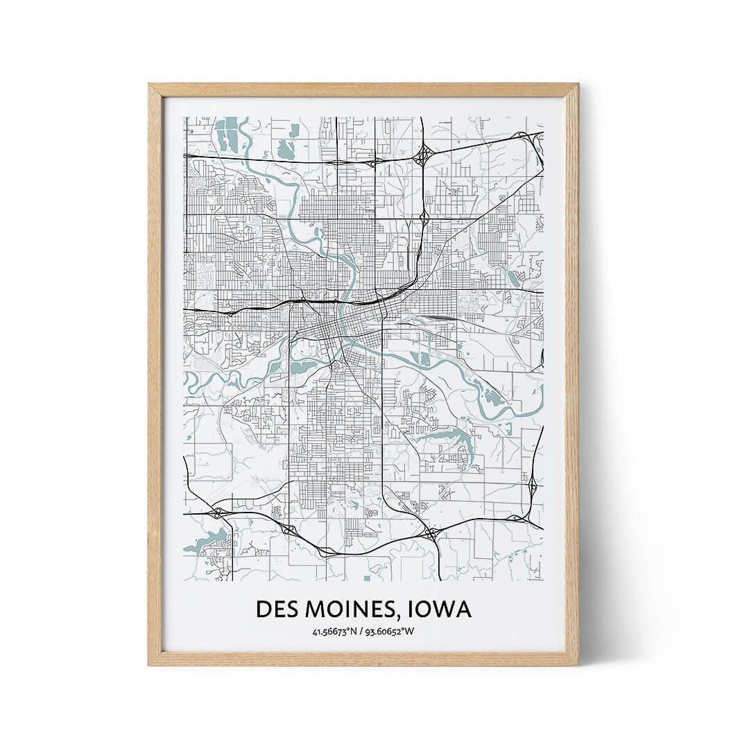 Des Moines city map poster