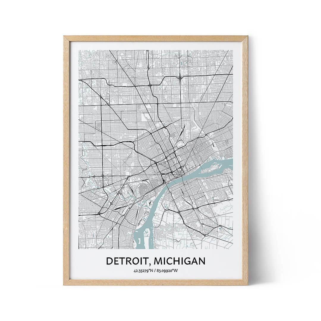 Detroit city map poster