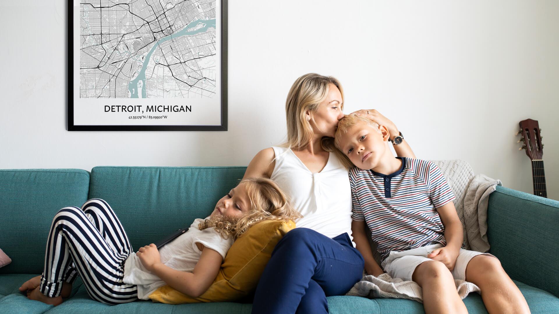 Detroit map poster