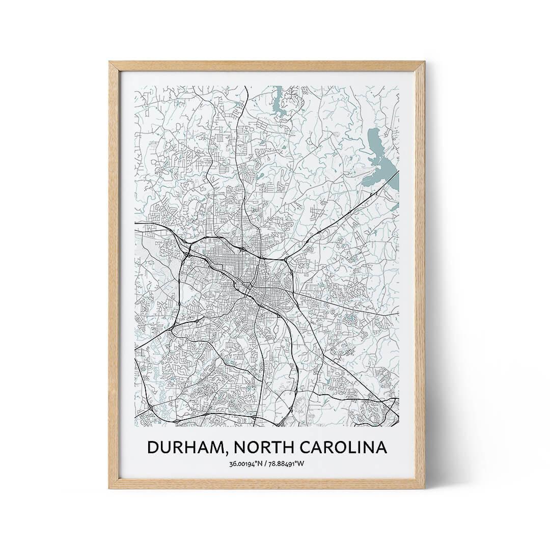 Durham North Carolina city map poster