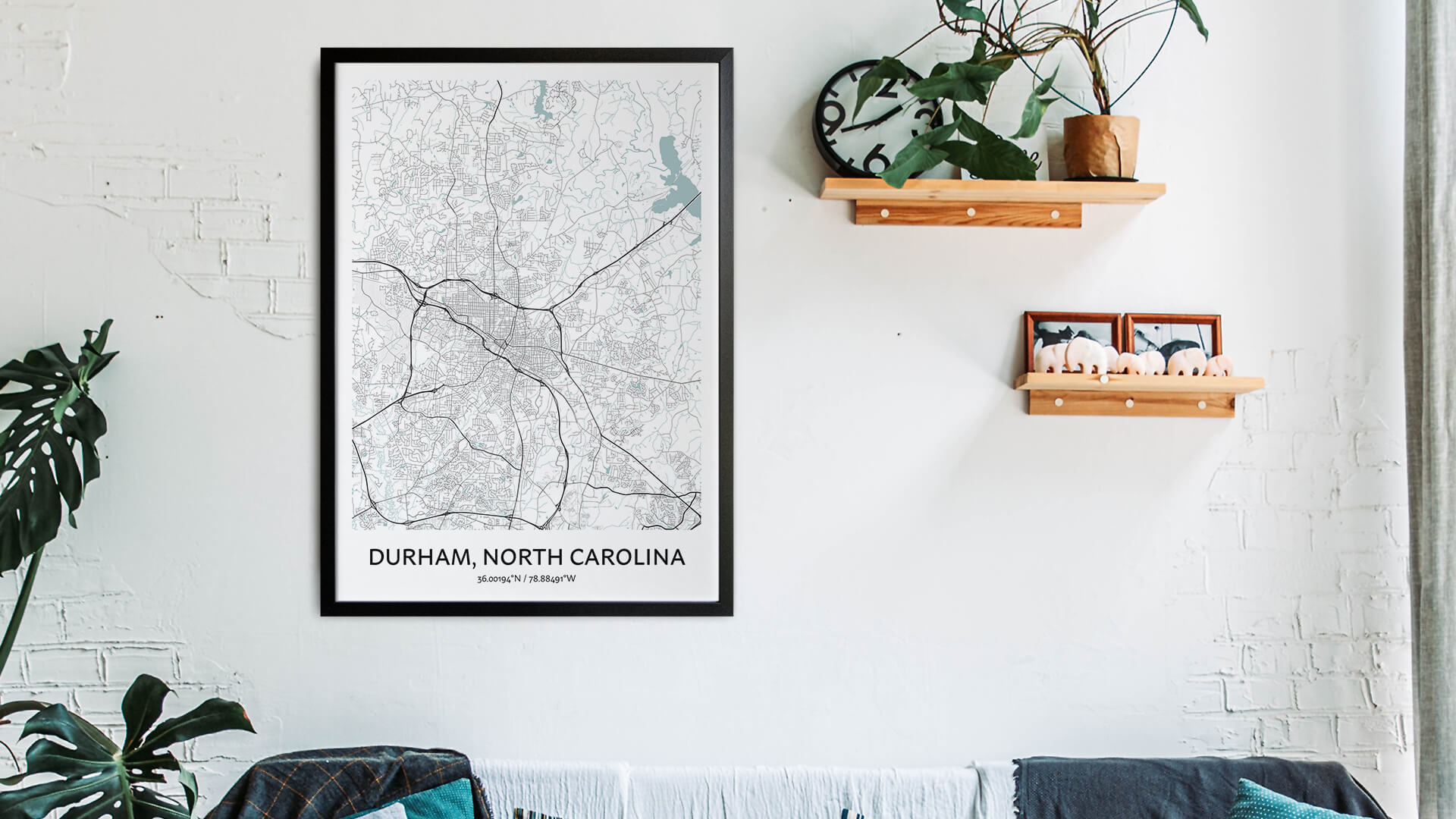Durham North Carolina map art