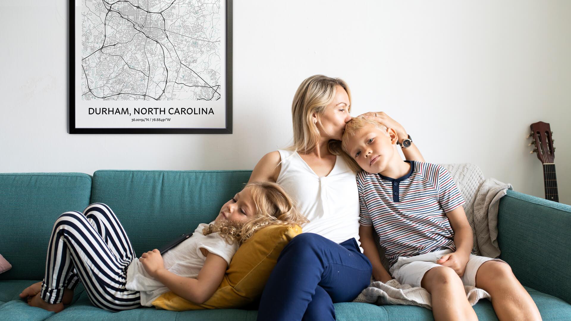 Durham North Carolina map poster
