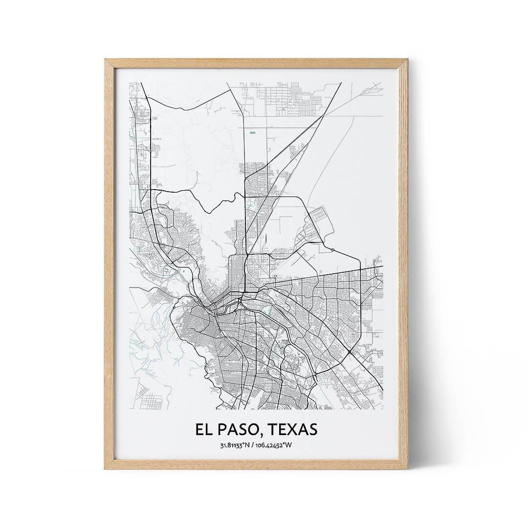 El Paso city map poster