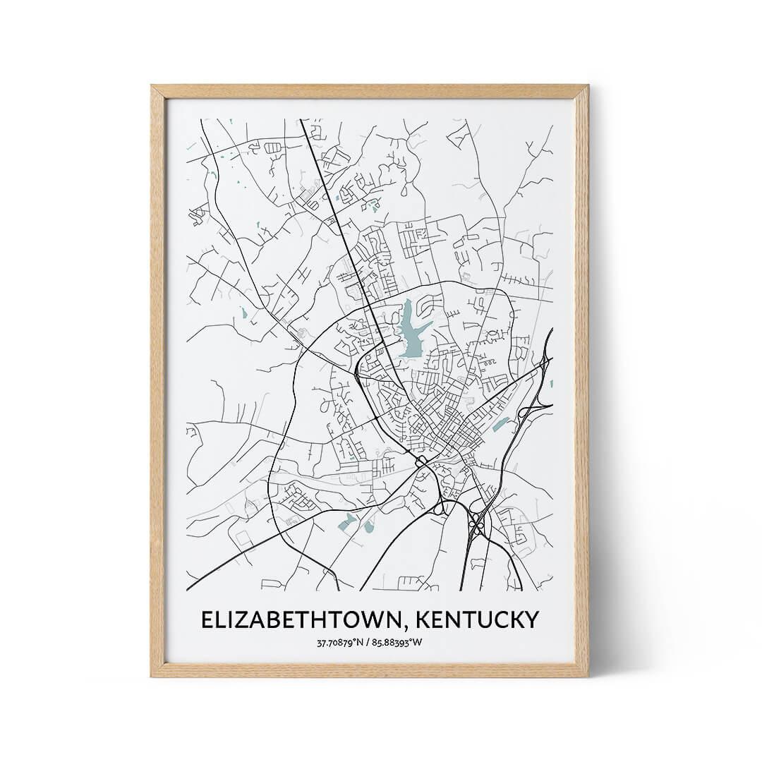 Elizabethtown city map poster