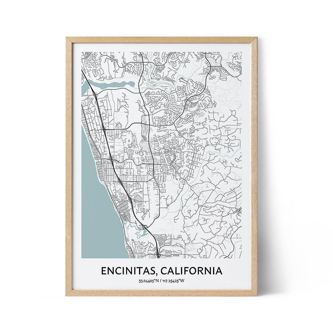 Encinitas city map poster