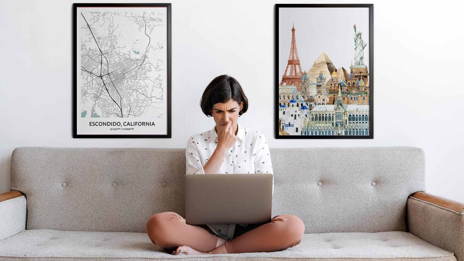 Escondido city map art
