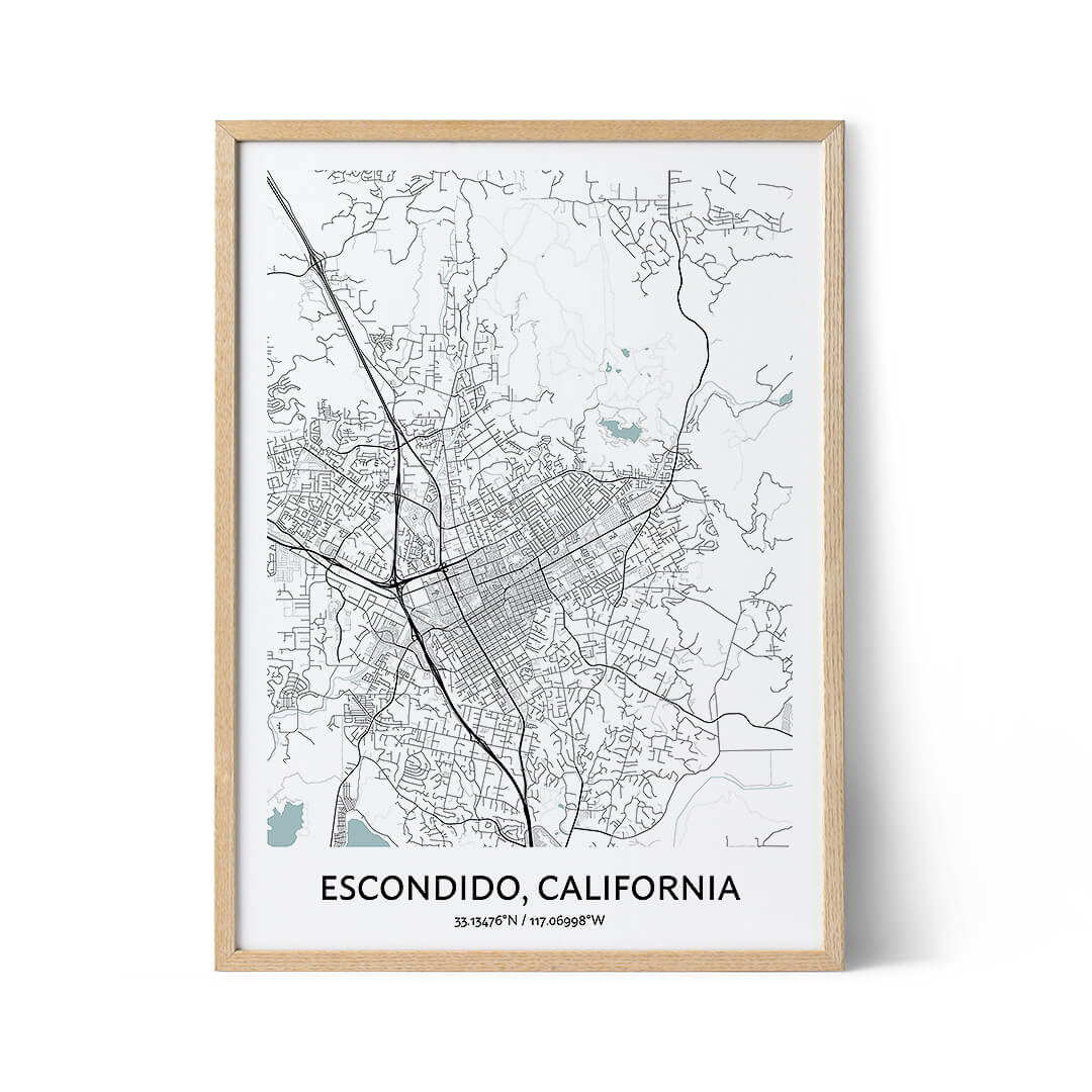 Escondido city map poster