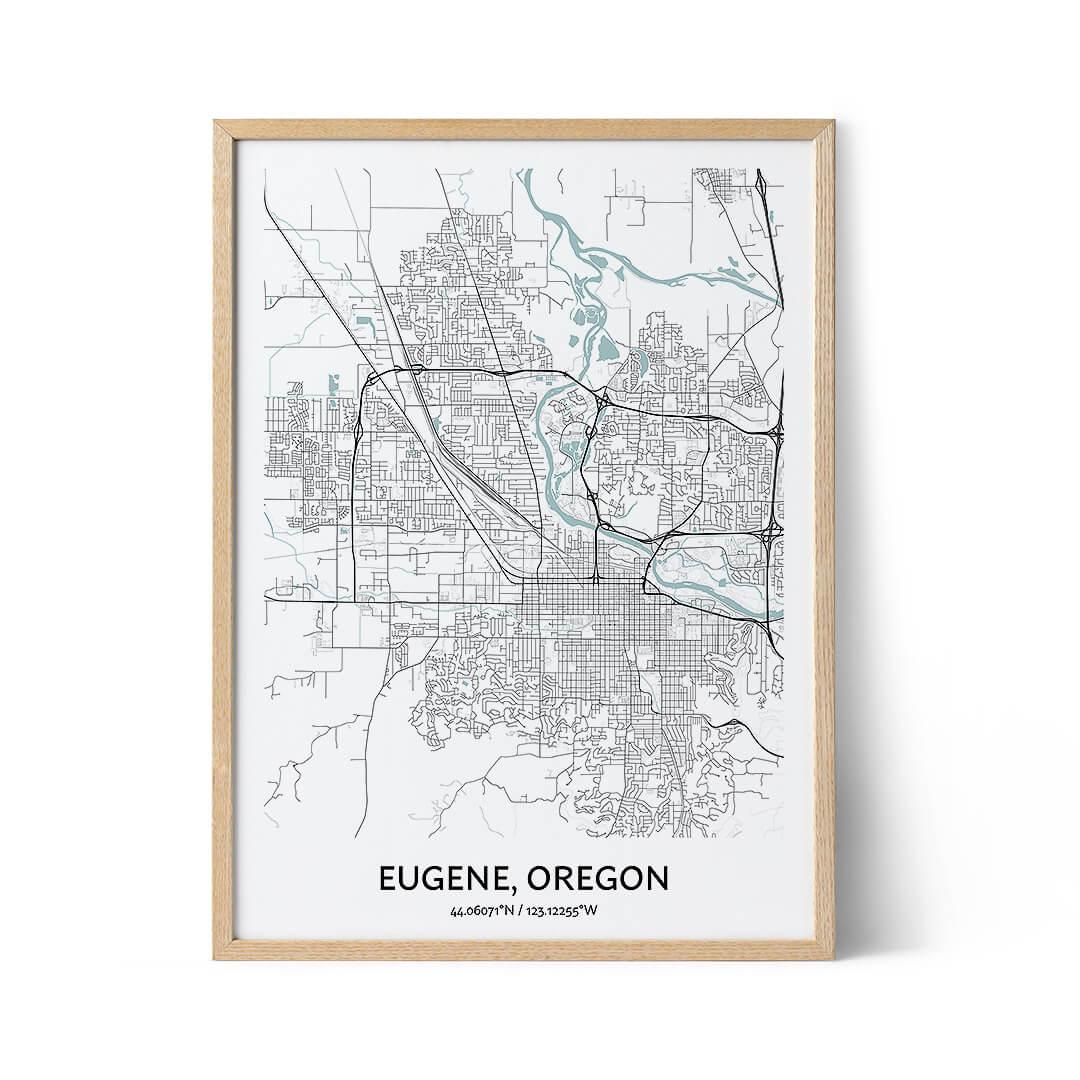 Eugene city map poster