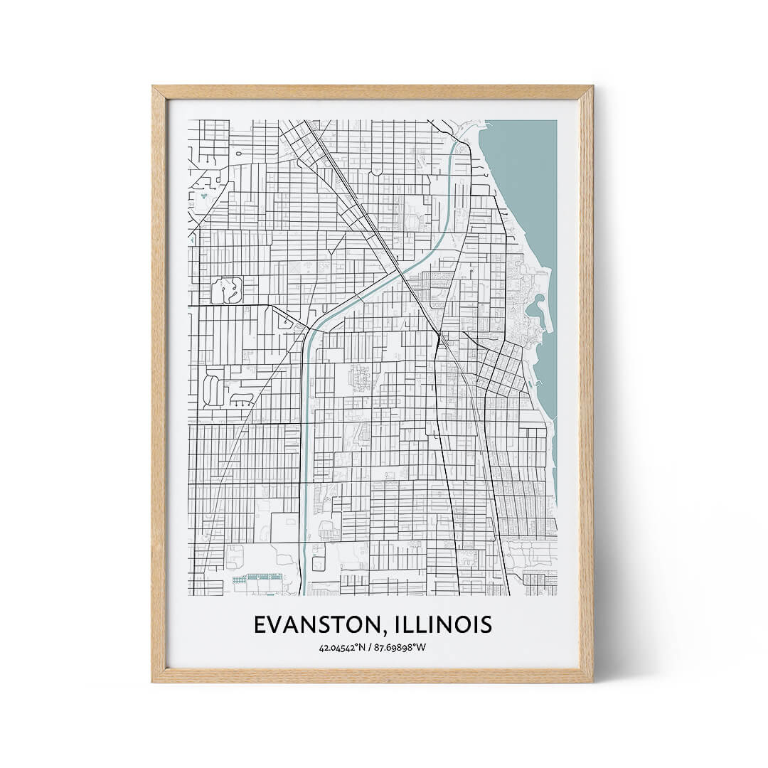 Evanston city map poster