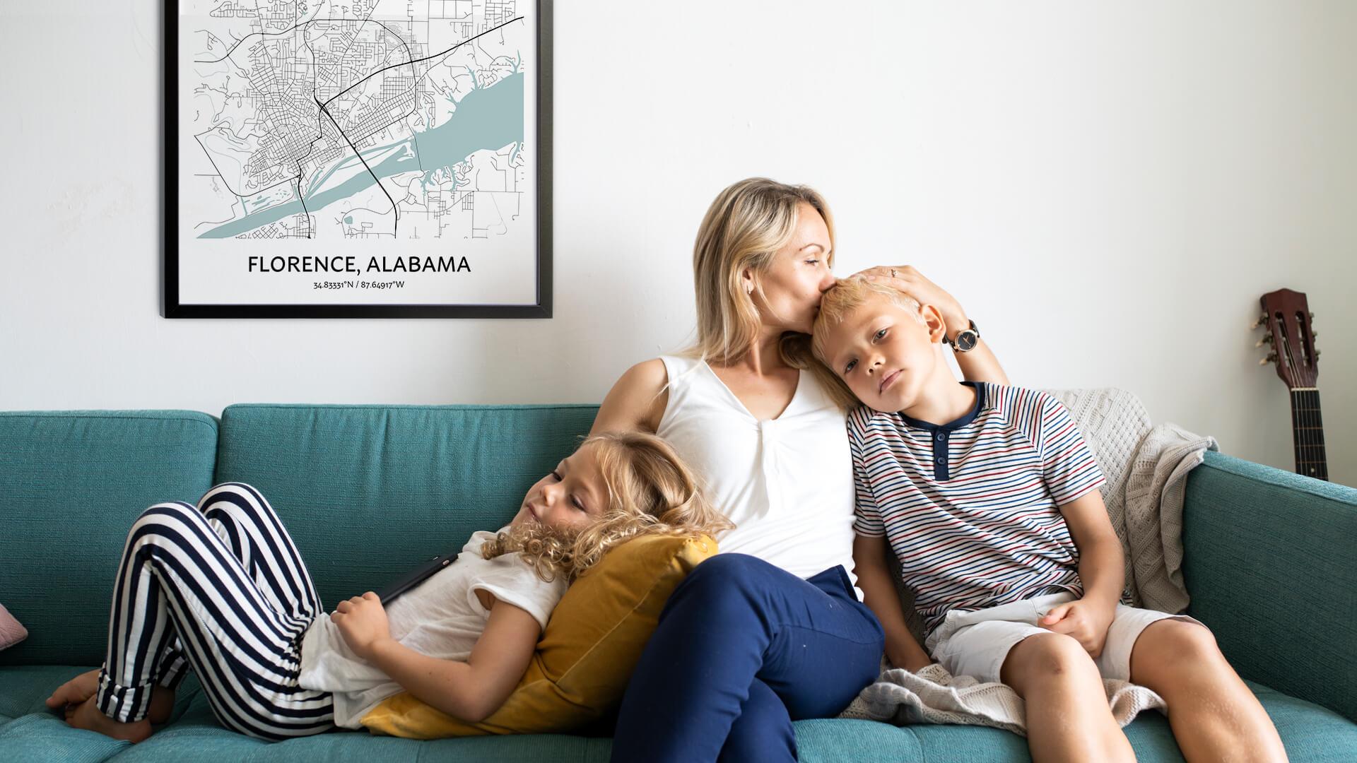 Florence Alabama map poster