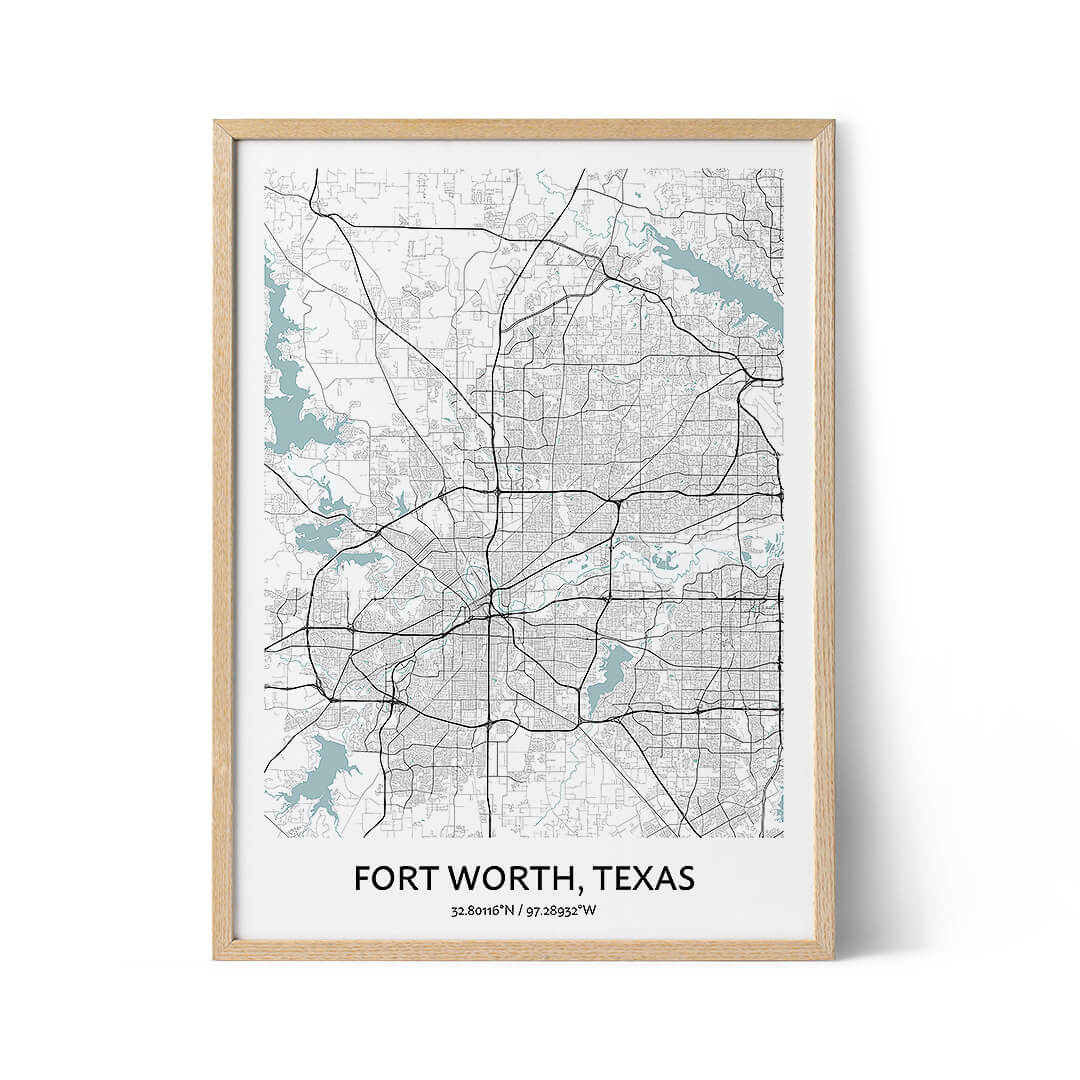 Fort Worth city map poster