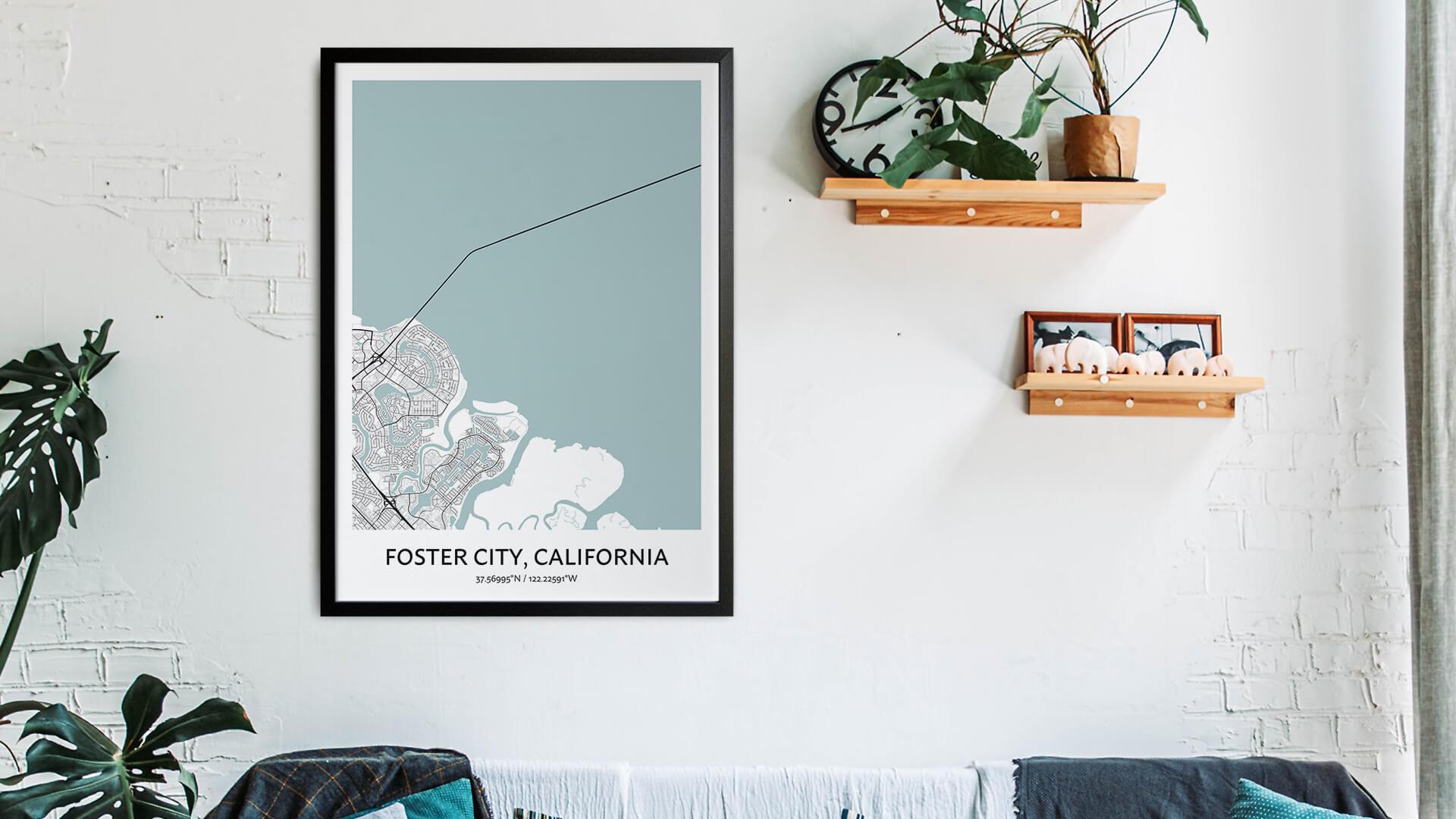 Foster City map art