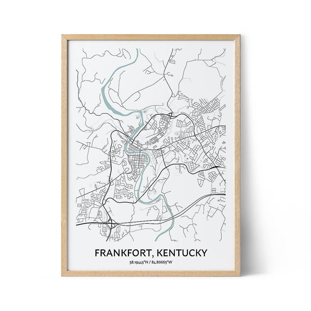Frankfort city map poster