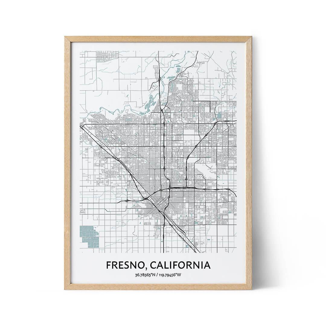Fresno city map poster
