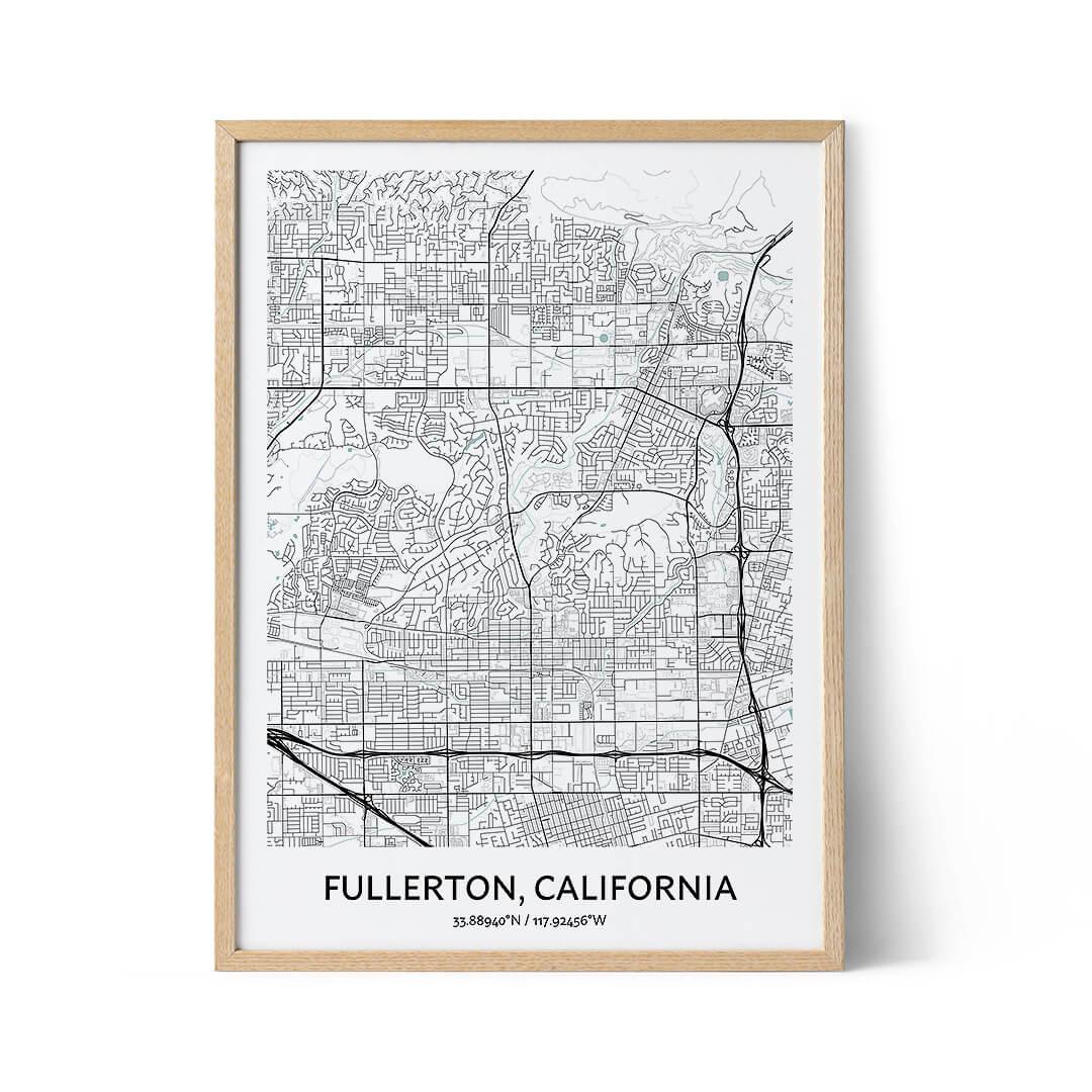 Fullerton city map poster
