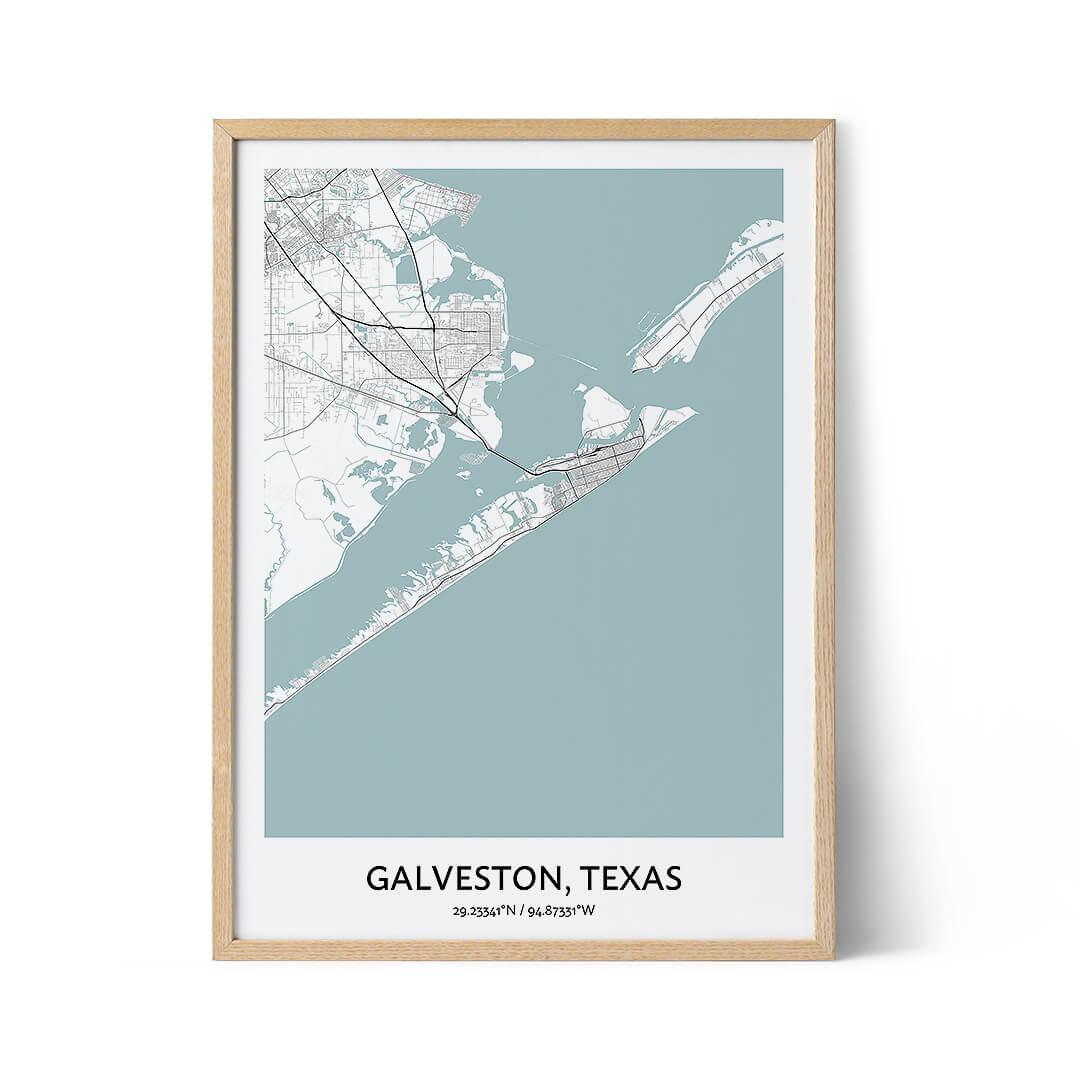 Galveston city map poster