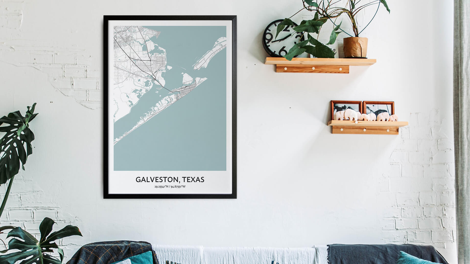 Galveston map art