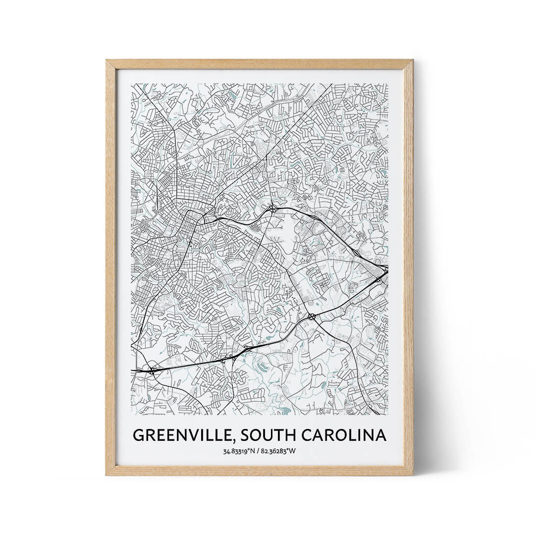 Greenville city map poster