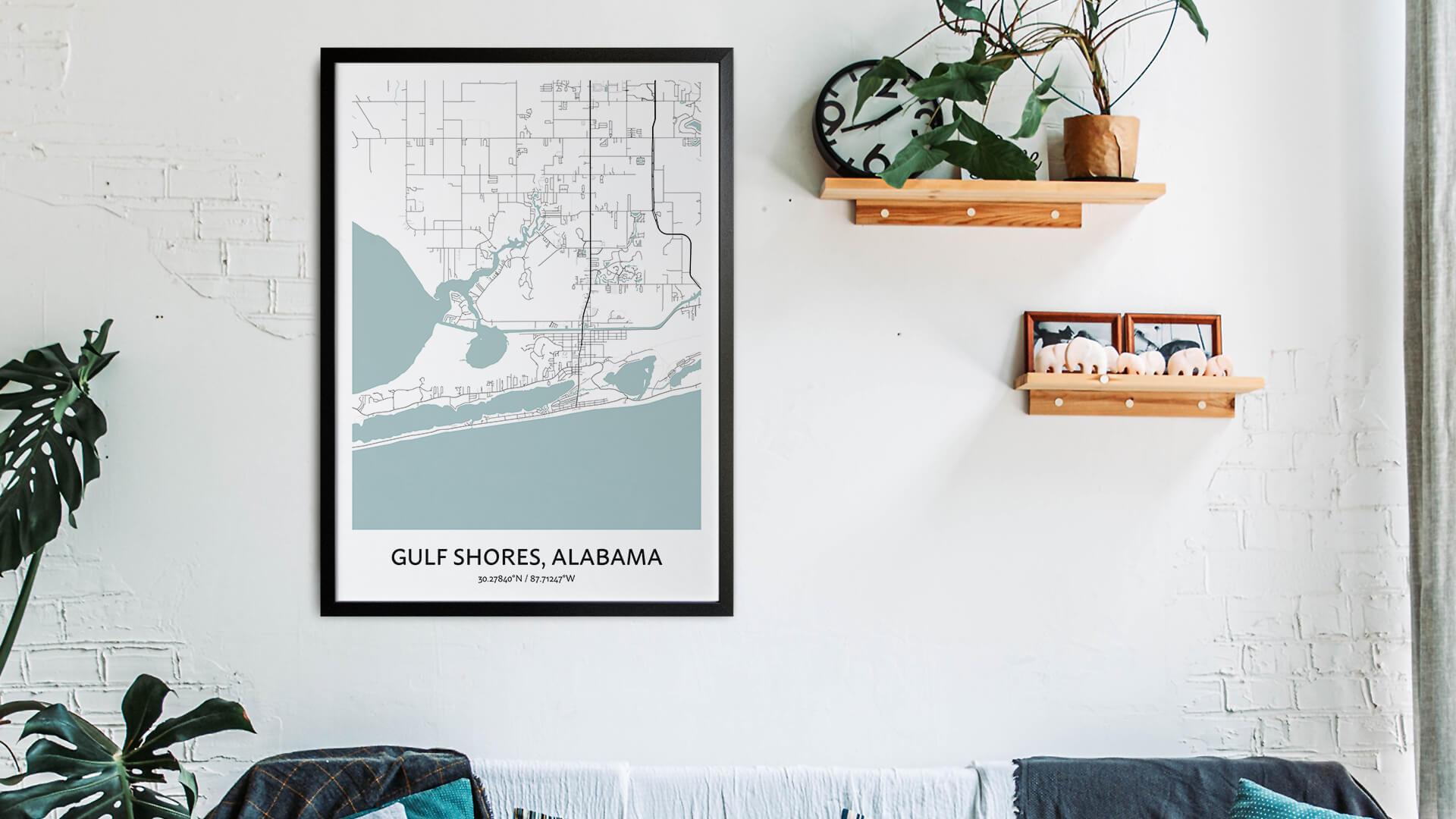 Gulf Shores map art