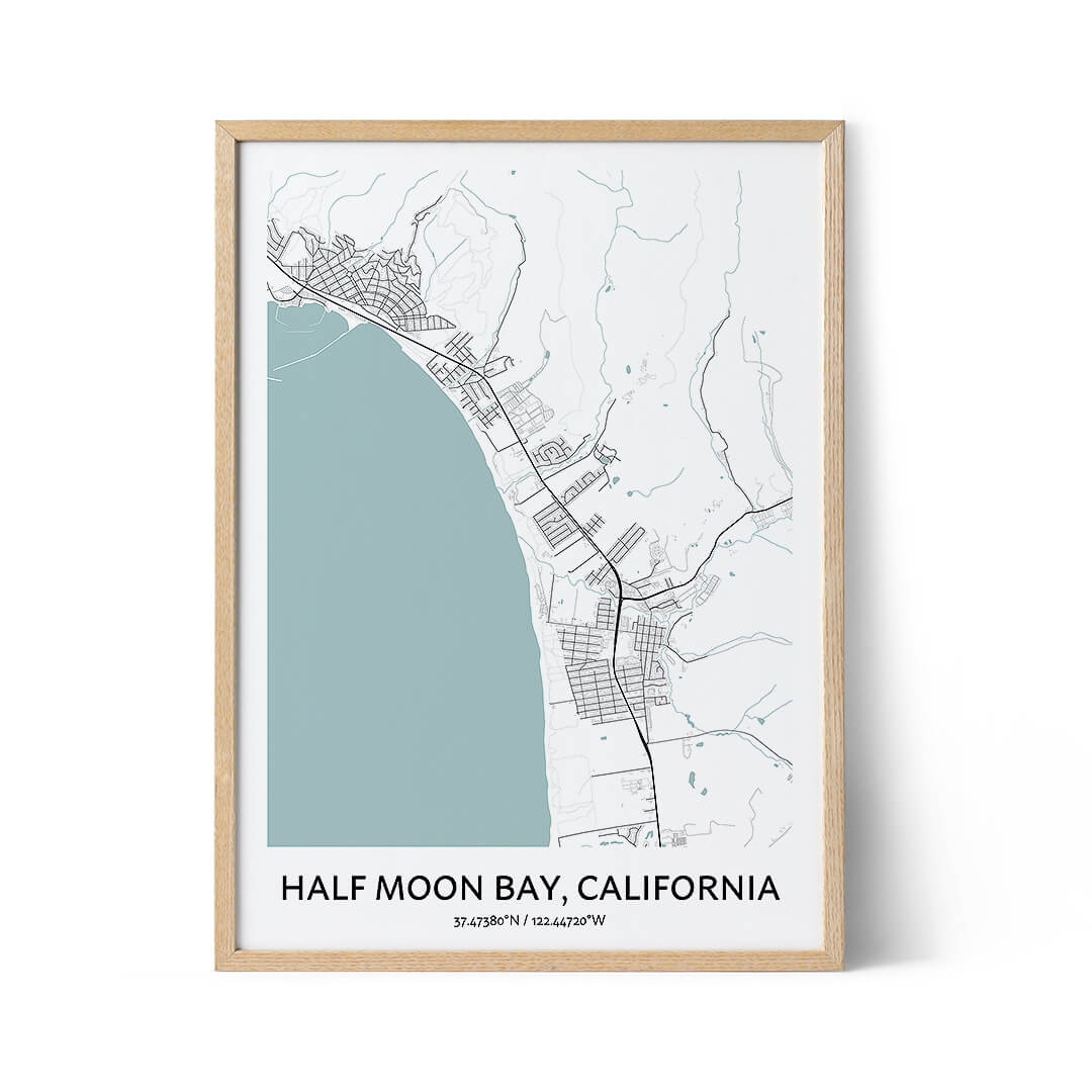 Half Moon Bay city map poster