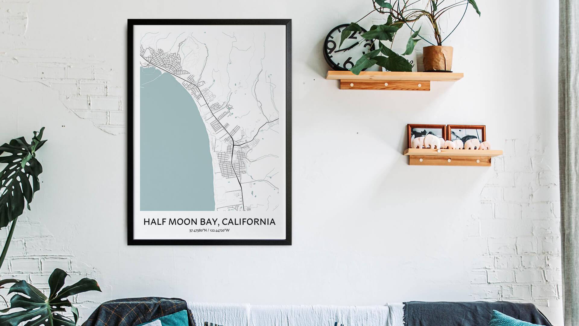 Half Moon Bay map art