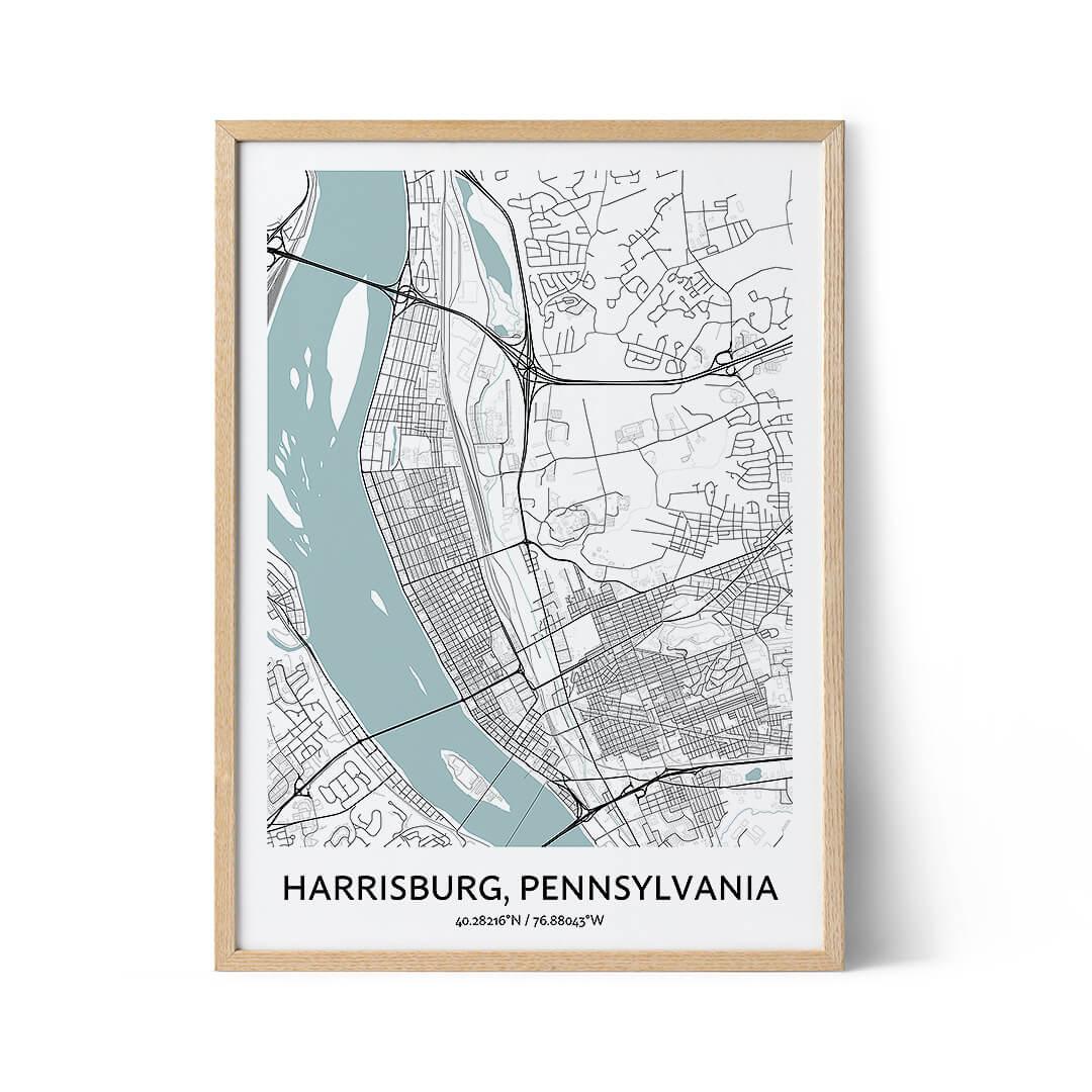 Harrisburg city map poster