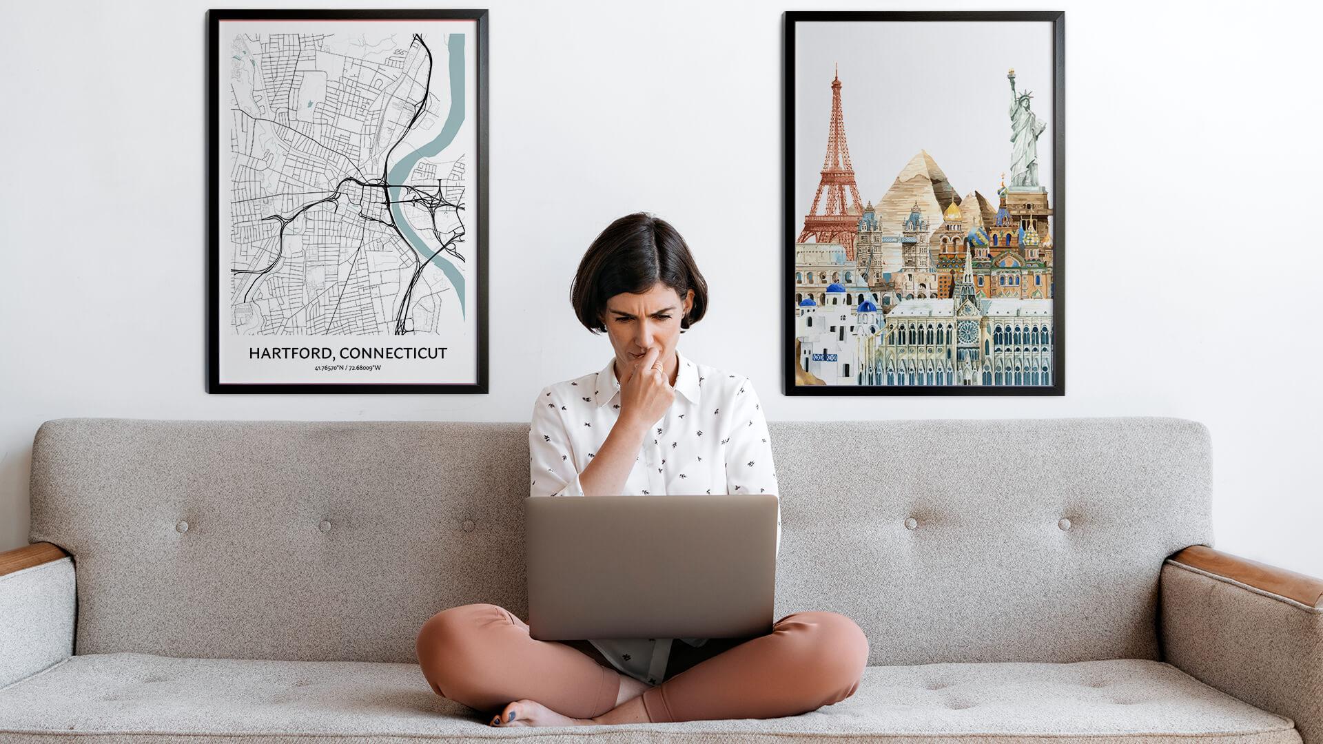 Hartford city map art