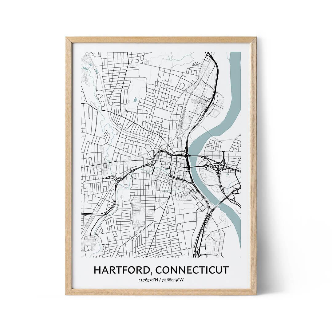 Hartford city map poster