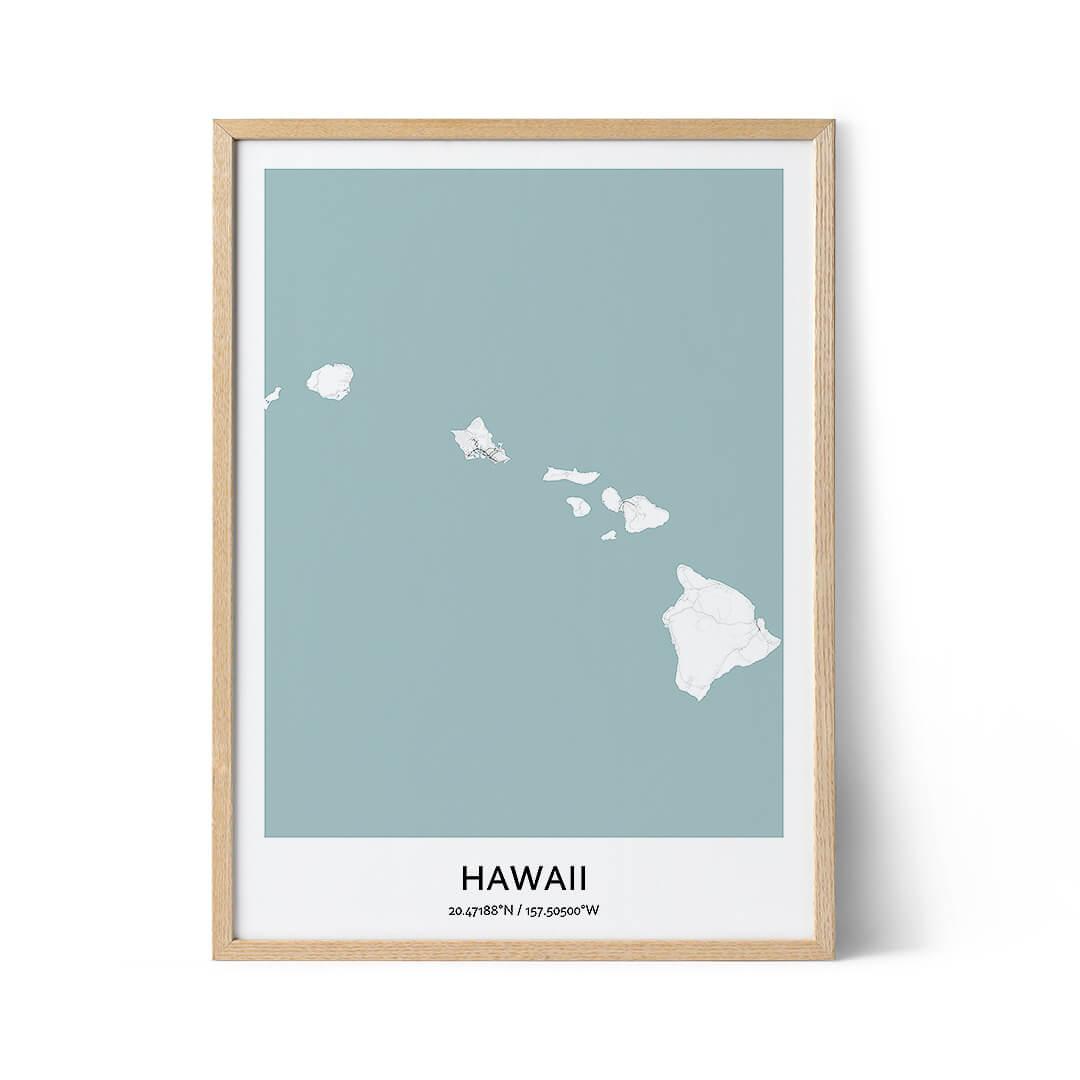 Hawaii city map poster